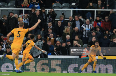 Doherty's 95th-minute winner was only Wolves' second win at St James' Park. (Photo credit should read LINDSEY PARNABY/AFP via Getty Images)