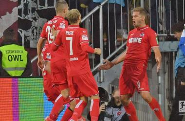 Simon Terodde (right) celebrating one of his goals.   Photo: Bundesliga.