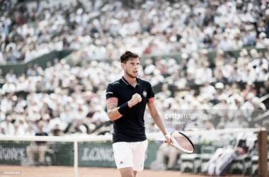 Thiem celebra un punto en la final de Roland Garros. Foto: Getty Images.