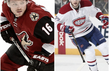 Two promising young players will be trading uniforms. (Photos: HockeyPNGs, Daily Mail)
