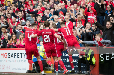Niall McGinn celebrates his goal against RoPS Rovaniemi in the Europa League first qualifying round this month with teammates Ryan Hedges, Andy Considine and Jon Gallagher (Getty Images/Scott Baxter)