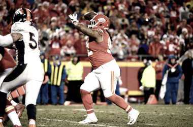 Dontari Poe threw a touchdown last season against the Denver Broncos | Source: Joe Amon - The Denver Post