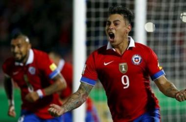 Chile's forward Eduardo Vargas celerbrating his goal against Brazil on Thursday at the Estadio Nacional Del Chile in Santiago. Photo provided by REUTERS/IVAN ALVARADO