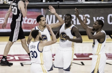 The Warriors celebrate a Game 1 win. Photo: Kelley L. Cox/USA Today Sports