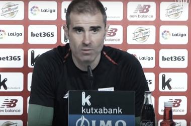 Garitano en rueda de prensa. Foto Athletic.