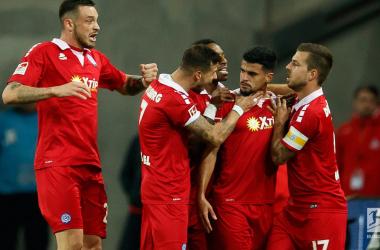 Duisburg celebrate one of their goals.   Photo: Bundesliga.