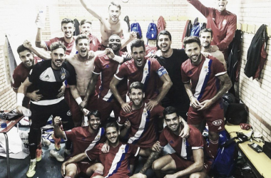 Celebración tras ganar el encuentro | Fotografía: Real Club Recreativo De Huelva