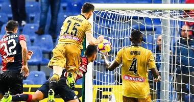 Lasagna segna il gol del momentaneo 1-1. Fonte: https://twitter.com/footballitalia