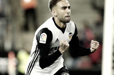 Robert durante la celebración de su tanto ante el Zaragoza I Foto: Valencia CF