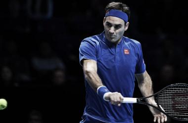Federer durante el partido ante Thiem. Foto: ATP