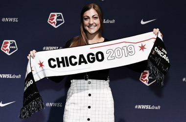 Chicago fourth round draft pick Hannah Davison shows off her Chicago 2019 Draft scarf. Source: NSWL Soccer