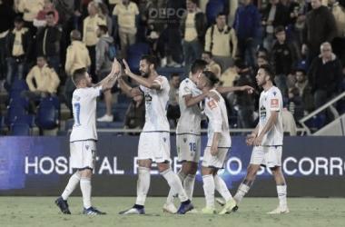 El Deportivo celebra el gol de Duarte en Gran Canaria // RCDeportivo