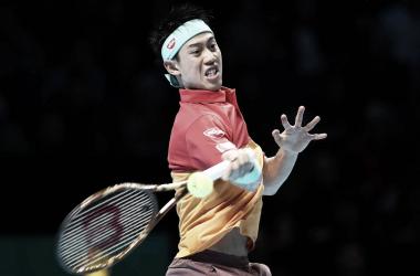 Nishikori durante el partido ante Federer. Foto: ATP