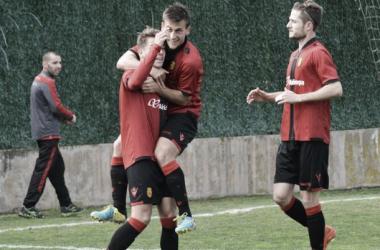El Mallorca B celebra el único tanto del partido (Foto: Fútbolbalear.es).