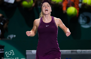 Elina Svitolina celebrates her win against Kiki Bertens (J48 Tennis)