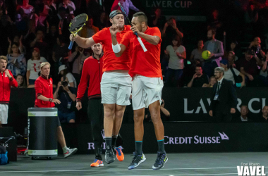 Sock and Kyrgios celebrate after their win over Nadal and Tsitsipas. Photo: Noel Alberto