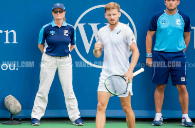 David Goffin reacts to breaking Richard Gasquet in the second set (Noel Alberto/VAVEL USA)