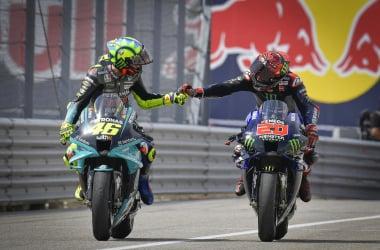 Valentino Rossi y Fabio Quartararo al finalizar la pasada carrera en Austin. | FOTO: Motogp.com