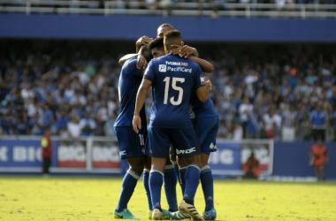 Gol de Bruno Vides en la victoria 2-0 ante LDU. Foto: Apifoto