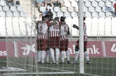 Celebración de un gol en el Almería-Reus | Fuente: UD Almería