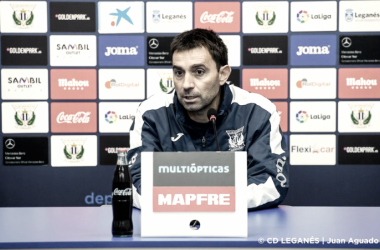 Asier Garitano en rueda de prensa | Foto: CD Leganés