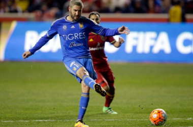 Tigres U.A.N.L forward André-Pierre Gignac scoring the late goal that equalized the match 1-1 on Wednesday at Rio Tinto Stadium, and eliminated Real Salt Lake from the CONCACAF Champions League. Photo provided by Rick Bowmer-Associated Press.
