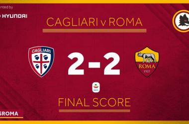 Serie A- Nuovo stop della Roma. Solo 2-2 a Cagliari