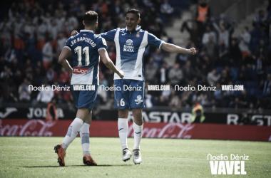 Óscar Duarte celebrando un gol ante Leo Baptistao (Foto: Noelia Déniz)
