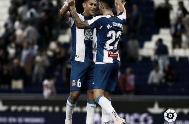 Duarte y Hermoso celebran un gol durante la temporada / Foto: LaLiga.