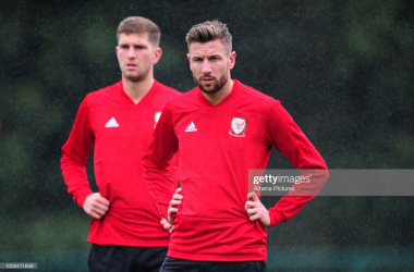 Paul Dummett of Wales in action during the Wales Training Session at The Vale Resort on September 3, 2018 in Cardiff, Wales. (Photo by Athena Pictures/Getty Images)