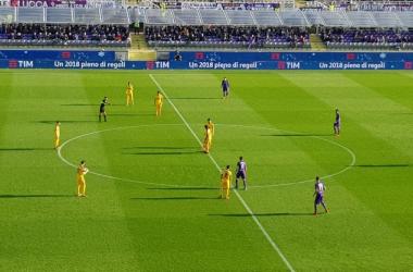 L'esultanza di Vukovic, autore del primo gol di oggi. | Fiorentina Twitter