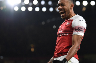 Aubameyang celebrando el gol que cerró el partido   Foto: @Arsenal
