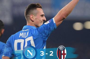 Serie A- La Juve chiama, il Napoli risponde e batte 3-2 il Bologna