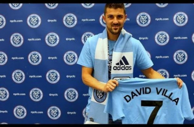 David Villa, pictured above, will be expected to lead the New York City Football Club forward line this season. (Photo credit: Associated Press)