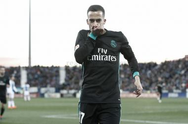 Lucas Vazquez celerbando un gol al Leganes / Fuente: Real MAdrid
