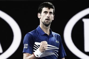 Djokovic celebrando uno de los puntos del partido. Foto: @ATPTour_ES