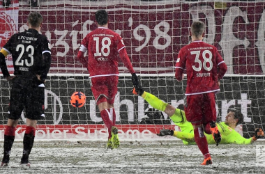 Christoph Moritz puts away his penalty in the snow. | Photo: Bundesliga.