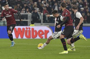 Dybala se dispuso en el área para definir el tanto de la victoria / Foto: Web oficial AC Milan