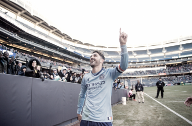 David Villa celebrating his goal on Sunday. | Photo: New York City FC