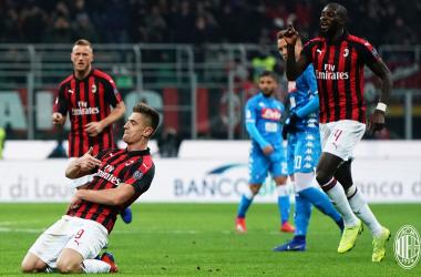 Milan, nel segno di Piatek: vittoria contro il Napoli e semifinale raggiunta