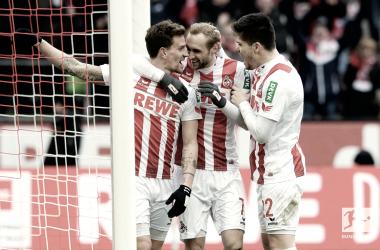 La gioia dei giocatori del Colonia. Foto: Twitter Bundesliga English