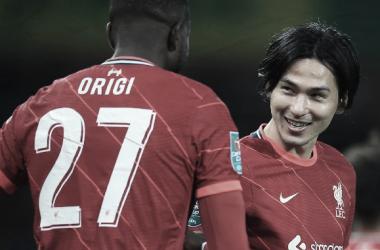 Origi y Minamino pusieron los goles en Carrow Road / Foto: Twitter @LFC