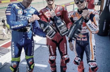 Podio GP Aragón con Bagnaia, Marquez y Mir | Fuente: Moto GP
