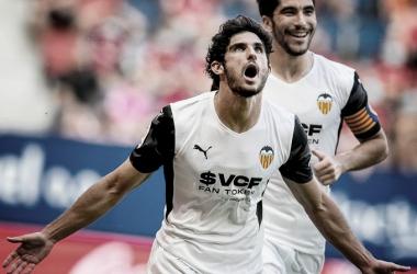 Guedes y Soler celebrando un gol. Fuente: Valencia CF