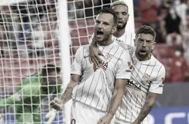 Rakitic celebra su gol con rabia. -SevillaFC