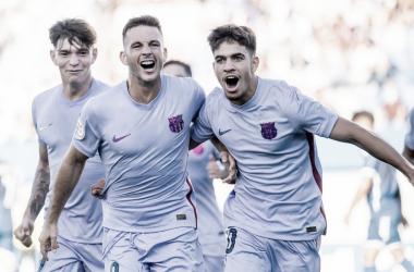 Rodado y Abde celebrando el primer gol. | Foto: FC Barcelona