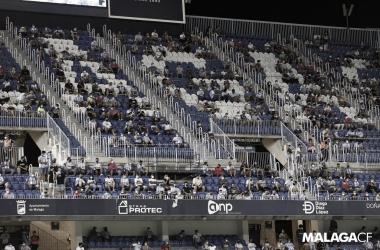 Grada de La Rosaleda en un partido durante esta temporada / Fuente: Málaga CF