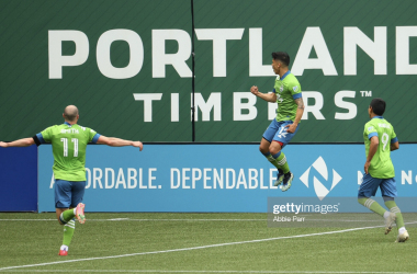 Fredy Montero #12 of Seattle Sounders celebrates after scoring a goal against the Portland Timbers in the second half at Providence Park on May 09, 2021 in Portland, Oregon. (Photo by Abbie Parr/Getty Images)