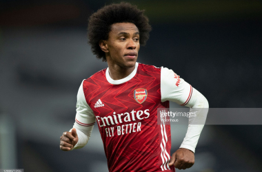 <div>Tottenham Hotspur v Arsenal - Premier League</div><div><br></div><div>LONDON, ENGLAND - DECEMBER 06: Willian of Arsenal in action during the Premier League match between Tottenham Hotspur and Arsenal at Tottenham Hotspur Stadium on December 6, 2020 in London, United Kingdom. A limited number of fans are welcomed back to stadiums to watch elite football across England. This was following easing of restrictions on spectators in tiers one and two areas only. (Photo by Visionhaus)</div>