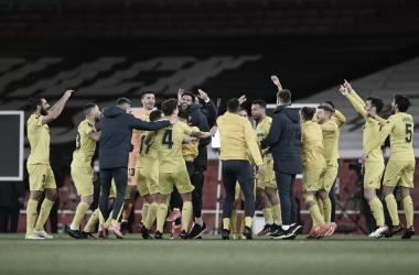 """<p class=""""MsoNormal"""">Los jugadores celebran el pase a la final // Foto: Europa League<b><o:p></o:p></b></p>"""